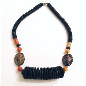 Vintage Black Wood Shells Orange Jasper Necklace